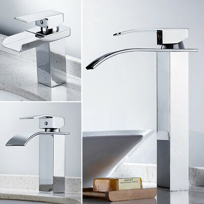 Waterfall Basin Mixer Tap Bathroom Counter Taps Sink Tall Chrome Square faucet