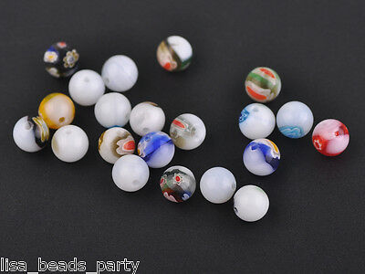 20pcs 8mm Round Lampwork Millefiori Glass Charms Loose Spacer Beads White Mixed