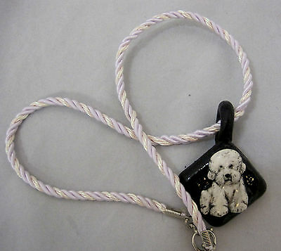 Bichon Frise Dog Pendant Necklace Handmade Clay Resin Cord Choker
