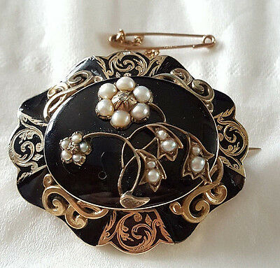 Victorian Era 1858 Mourning Memorial Black Enamel Split Pearls Diamonds Brooch