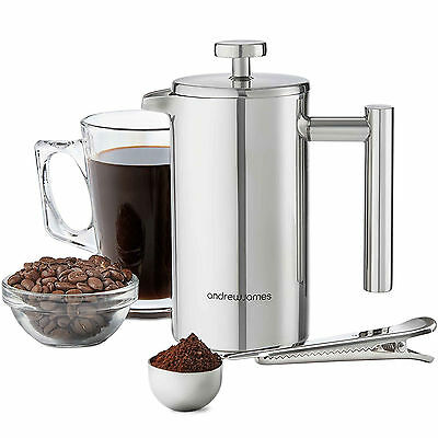 Andrew James 3 Cup 350ml Double Walled Stainless Steel Cafetiere Gift Set