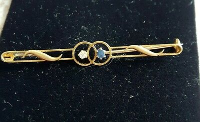 18ct gold diamond and sapphire brooch