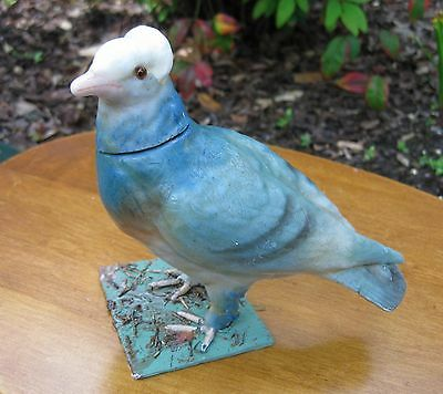 Antique German Blue Bird Candy Container With Glass Eyes Unusual