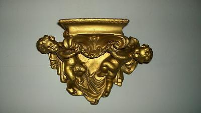 Beautiful Vintage Rococo Gilded Plaster Wall Corbel with Two Putti's