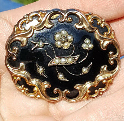 Victorian Era Mourning Memorial Black Enamel Split Pearls Black Dot Paste Brooch