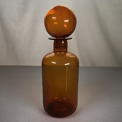 """Apothecary Jar Amber With Bubbles 11"""" Tall Big Removable Top"""