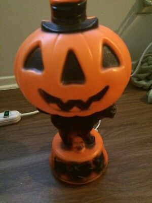 Vtg Halloween Empire Orange Pumpkin Black Cat  Skull Blow Mold Light Needs Clip