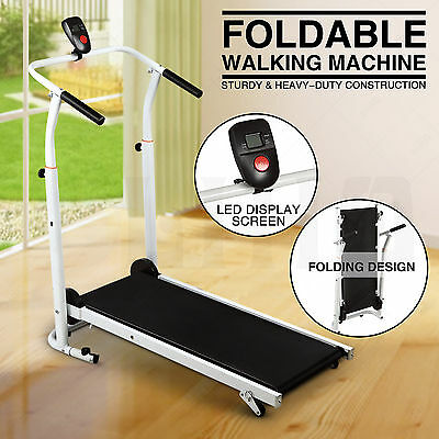 Folding Manual Treadmill Walking Machine Cardio Fitness Running Incline