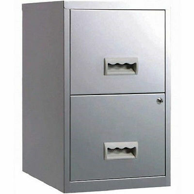 2 Drawer A4 Metal Steel Lockable Filing Draw Cabinet-Silver 650H x 400Wx 400D mm
