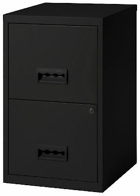 2 Drawer A4 Metal Steel Lockable Filing Draw Cabinet - Black 650H x 400Wx 400Dmm