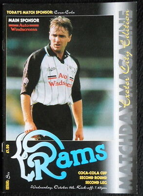 Derby County v Exeter City  coca cola cup 2nd round   6-10-1993  vgc