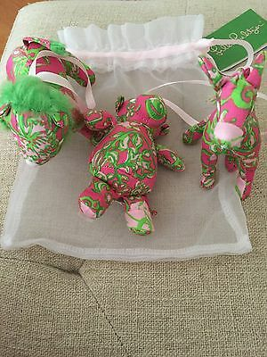 """NWT Lilly Pulitzer Animal Ornaments """"The Gangs All Heare"""" (3)"""