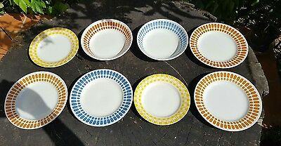 8 assiettes vintage Digoin Sarreguemines couleur jaune bleu orange