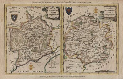 Monmouthshire & Herefordshire. 2 county maps on one sheet. WALPOOLE / HOGG c1784
