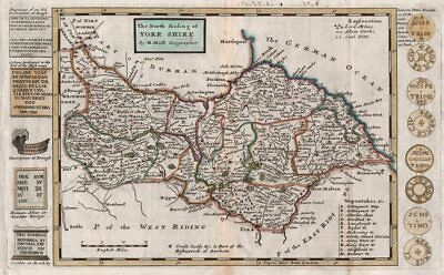 """""""The North Riding of York Shire"""", by Hermann Moll. Yorkshire 1724 old map"""