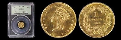 1862 G$1 Gold Dollar PCGS MS63 (Double Die Obverse not on holder)