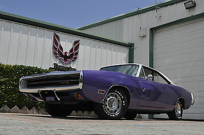 1970 Dodge Charger 2 door 1970 Dodge Charger R/T 440 high impact PLUM CRAZY white interior MINT