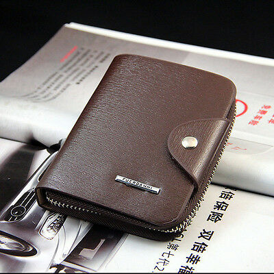 Men's Leather Bifold Credit ID Card Holder Billfold Zipper Purse Wallet Fashion