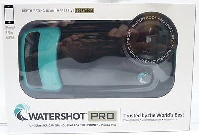 NEW Watershot Pro UW Housing for iPhone 6 Plus/6S Plus Flat Lens Only 195ft/60m