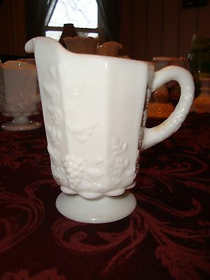 Vintage Westmoreland Milk Glass Creamer With Beaded Edge Grape Mint Condition