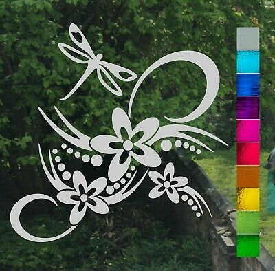 Flower Dragonfly Scroll Stained Glass or Etch Effect Window Sticker Decal