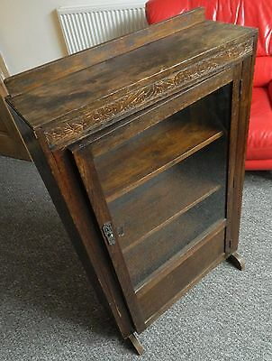 Dark Oak, glass door cabinet, cupboard with shelves