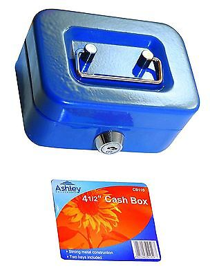 "8"" inch Small Key Lock Petty Cash / Piggy Bank Money Box Lockable Blue"