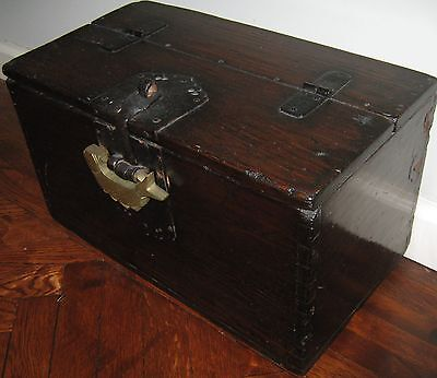 TON-KWE coin chest KOREA Antique WOOD money box wrought iron fixtures VERY nice