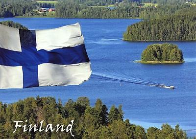 Postcard Finland Suomi FLAG against Lake by Hannu Moilanen