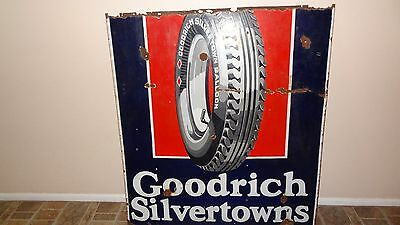 Original BF Goodrich Silvertowns Tires Porcelain Sign Double Sided, 1930s-1940s