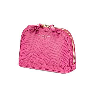 Aspinal of London Small Hepburn Cosmetic Case in Raspberry Lizard