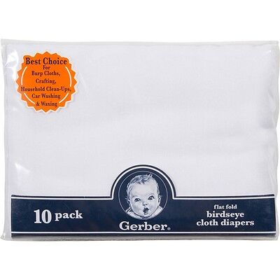 GERBER BIRDSEYE FLAT FOLD CLOTH DIAPERS White 10 Count (NEW) Free Shipping!