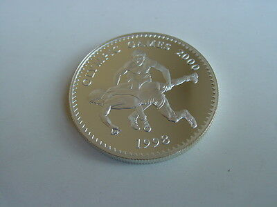 OLYMPIC GAMES 2000, 500 Tugrik 1998 Mongolia, SILVER Coin