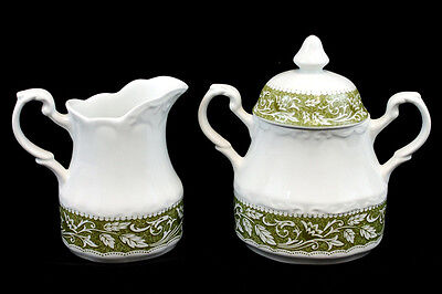 J&G Meakin Stafford Sterling Ironstone Green Floral Sugar Bowl & Creamer