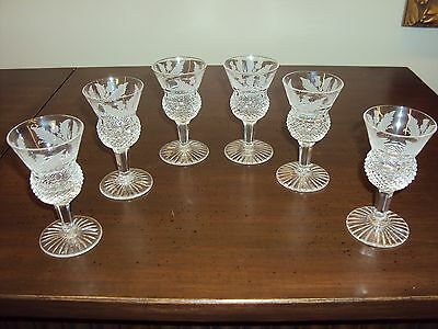 "Set of 6 Vintage Edinburgh Scotland Crystal Thistle Glass 3 1/2"" Approx. 2 oz."