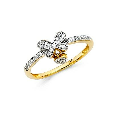Butterfly Heart Charm Ring 14k Yellow Gold Love Band CZ Promise Dangle Style