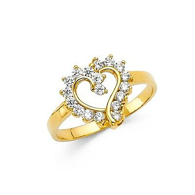 CZ Heart Ring Solid 14k Yellow Gold Band Love Promise Ring Right Hand Style