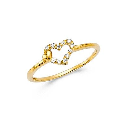 Solid 14k Yellow Gold Heart Ring CZ Two Hearts Love Band Right Hand Style Fancy