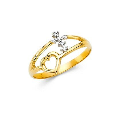 CZ Heart Cross Ring Solid 14k Yellow Gold Band Religious Love Style Open Design