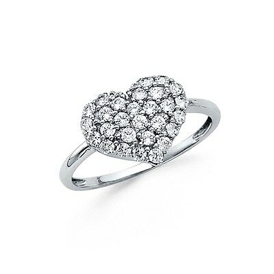 CZ Heart Ring Solid 14k White Gold Love Band Promise Ring Round Polished Style