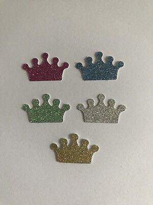 50x Glitter Crown Die Cuts / Embellishments / Party Princess Prince