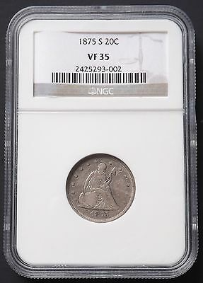 1875 S Seated Liberty 20 Cent Piece NGC VF35