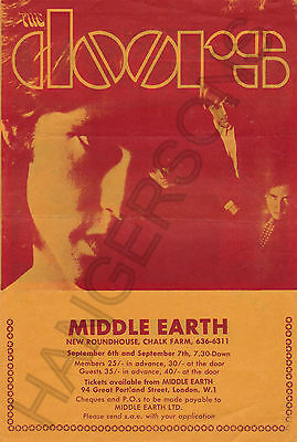 Original Rare Flyer The Doors/Jefferson Airplane Middle Earth London 6 Sept 1968