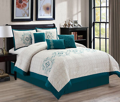 7-Piece White Medallion Turquoise Floral Embroidery Comforter Set, Queen