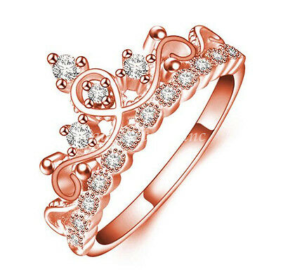 Women Fashion Rose Gold Plated Hollow Crown Shaped With Rhinestone Ring Jewelry