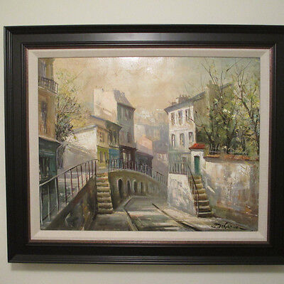 Lucien Delarue Oil Painting On Canvas Original French Cityscape Signed Artwork