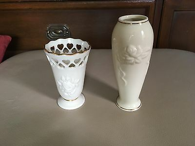 Lenox Vases, Set of 2, Cream w/ Roses and Gold Trim, Signed, USA