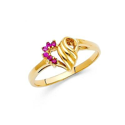 Red CZ Heart Ring Solid 14k Yellow Gold Band Love Fashion Style Curve Fancy