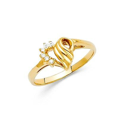 CZ Heart Ring Solid 14k Yellow Gold Band Love Fashion Style Curve Design Fancy