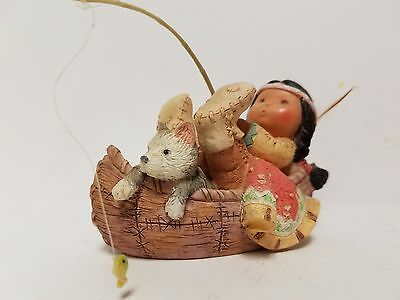 """little Fish Tale"" Indian Boy With Canoe Figurine Friends Of The Feather"